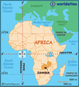 Zambia in relation to African continent