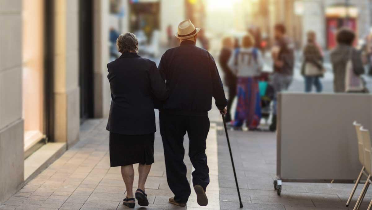 retire couple walking